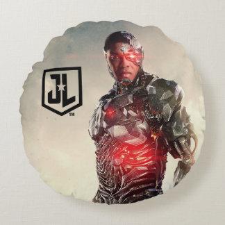 Coussins Ronds Cyborg de la ligue de justice | sur le champ de
