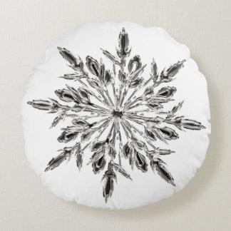 Coussins Ronds Flocon de neige en cristal glacial