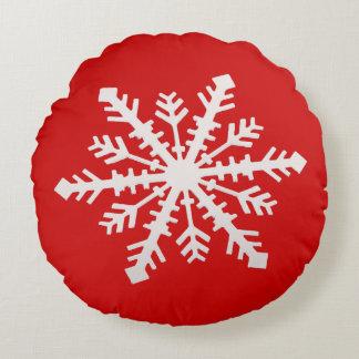 Coussins Ronds Flocon de neige sur le rouge