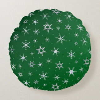 Coussins Ronds Flocons de neige verts