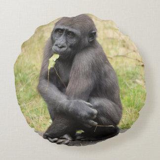 Coussins Ronds Jeune gorille mignon