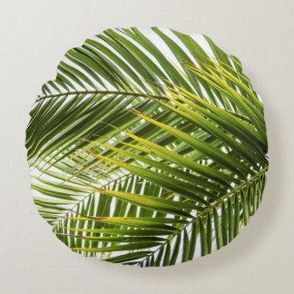 Coussins Ronds Laisse la photo tropicale de palmier moderne