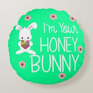 Coussins Ronds Mignon je suis vos fleurs de lapin de miel