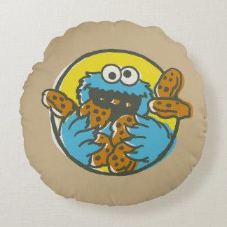 Coussins Ronds Monstre de biscuit rétro