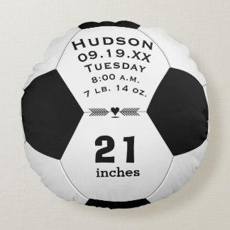 Coussins Ronds Nom de ballon de football et stat personnalisés de