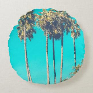 Coussins Ronds Photo tropicale moderne d'été de plage de palmier