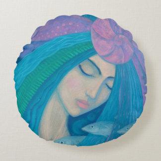 Coussins Ronds Princesse de sirène, imaginaire sous-marin, bleu