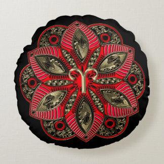 Coussins Ronds Rouge et mandala de Bélier de signe de zodiaque