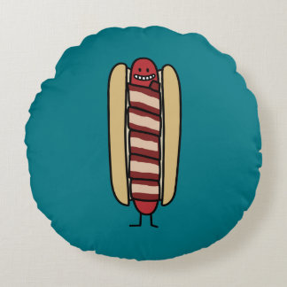 Coussins Ronds Saucisse de hot dog enveloppée par lard de hot-dog