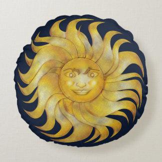 Coussins Ronds Sun de sourire de Bohème sur #1 bleu