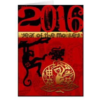 Coutume 2016 ans année chinoise de singe de la carte de vœux