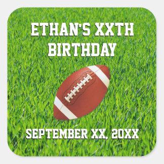 Coutume de fête d'anniversaire du football sticker carré