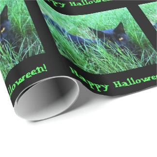 Coutume de Halloween de Chat-dans-Herbe Papier Cadeau