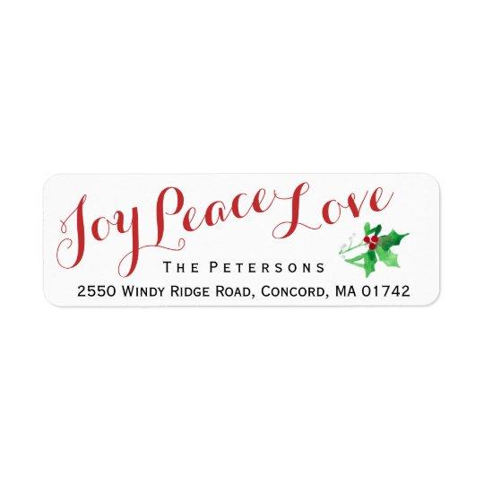 Coutume de houx d'amour de paix de joie de étiquette d'adresse retour