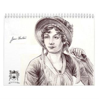 Coutume de Jane Austen avec un calendrier imprimé
