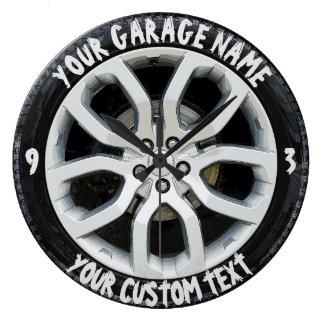 Coutume de roue de pneu de propriétaire de garage grande horloge ronde