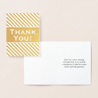 """Coutume, feuille d'or rayée """"Merci !"""" Carte"""
