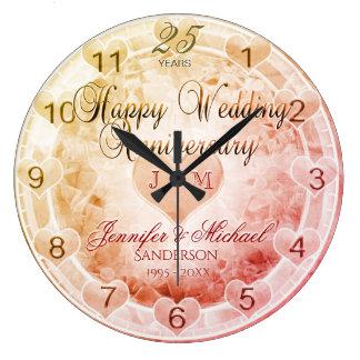 Coutume tous coeurs d'anniversaire de mariage grande horloge ronde