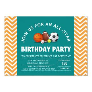 Coutume une fête d'anniversaire All-Star de sport Carton D'invitation 12,7 Cm X 17,78 Cm