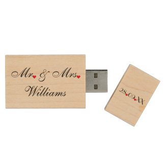 Coutume USB d'anniversaire de mariage de M. Mme Clé USB 2.0 En Bois