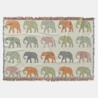 Couverture animaux colorés de motif d'éléphant