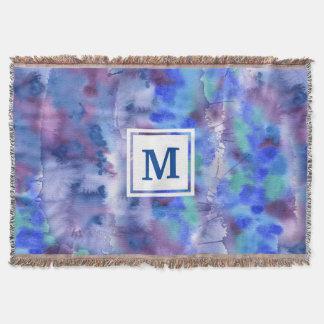 Couverture Aquarelle Teal pourpre bleu peint à la main