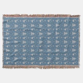 Couverture Argent de bleu de motif de mâle de cerfs communs