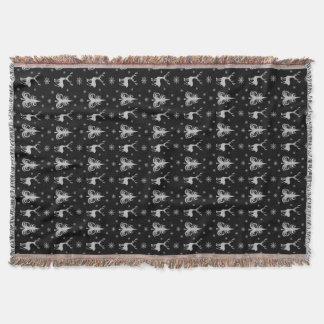 Couverture Argent de noir de motif de mâle de cerfs communs