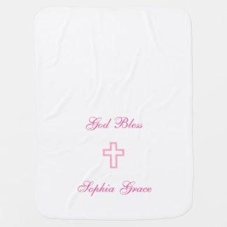 Couverture de bébé personnalisée par croix rose