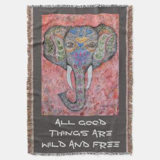 Couverture de jet d'art d'éléphant d'Asie de
