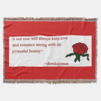 Couverture de jet de citation de rose rouge
