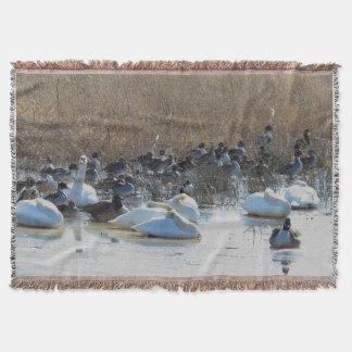 Couverture de jet de cygne de faune d'oiseaux de