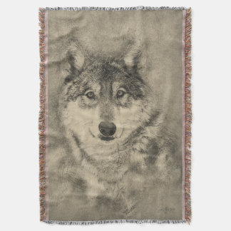 Couverture de jet d'illustration de crayon de loup