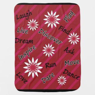 Couverture de motivation de bébé de fleur rose et couvertures pour bébé
