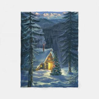 Couverture d'ouatine de paysage de neige de Noël