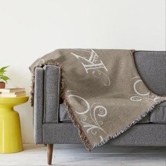 Couverture florale de jet de monogramme de toile