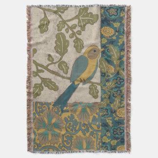 Couverture Jaune et oiseau bleu turquoise étés perché sur une