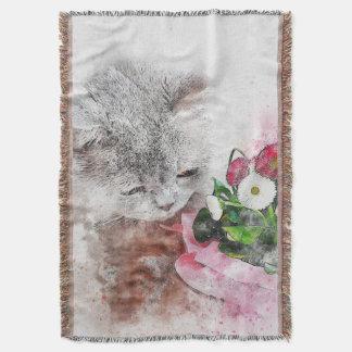 Couverture Médias chaton et fleurs de mélange d'aquarelle