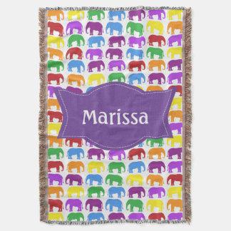 Couverture Motif coloré d'éléphant avec le nom personnalisé