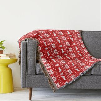 Couverture Motif de Noël de silhouettes de Norfolk Terrier