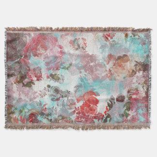 Couverture Motif turquoise floral rose chic romantique