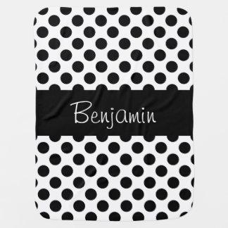 Couverture noire et blanche personnalisée de bébé couvertures de bébé