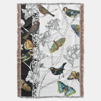 Couverture Oiseaux et papillon sur un arrière - plan noir et