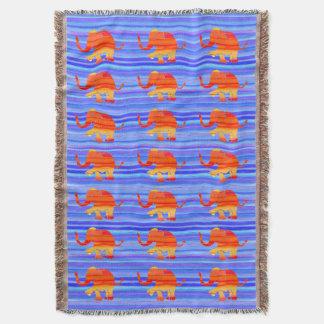 Couverture Orange colorée sur le motif d'éléphant de rayures