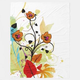 Couverture peinte à la main d'ouatine de fleur de