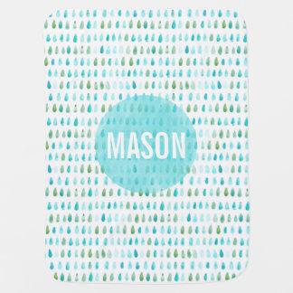 Couverture personnalisée de bébé bleu d'aquarelle couvertures pour bébé