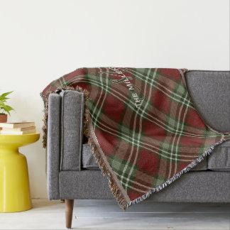 Couverture plaid de tartan grayed blanc vert rouge de Noël de