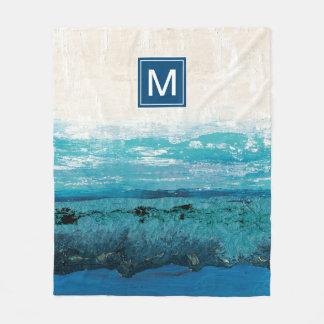 Couverture Polaire Aquarelle de bleu de saphir
