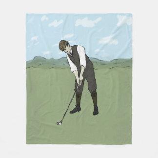 Couverture Polaire Art vintage du golfeur V1