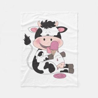 Couverture Polaire Bande dessinée mignonne de vache à bébé avec son